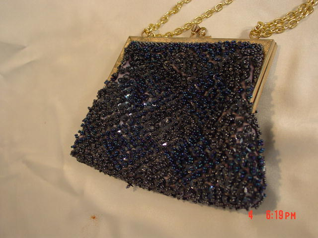 Vintage Magid Macau Blue & Black AB Seed Bead & Sequin Evening Purse