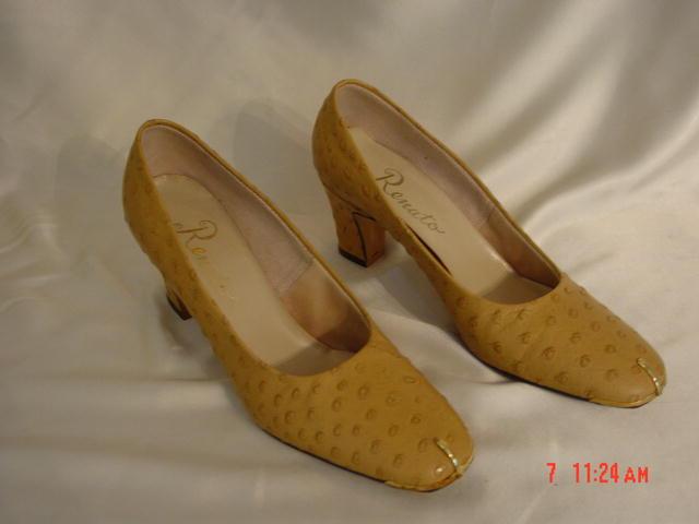 NEW Renato Tan Ostrich Skin Shoes Size 7
