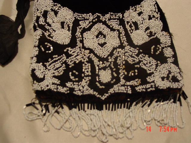 Antique Black Silk and Velvet Drawstring Purse Handbag Embroidered with White Seed Beads