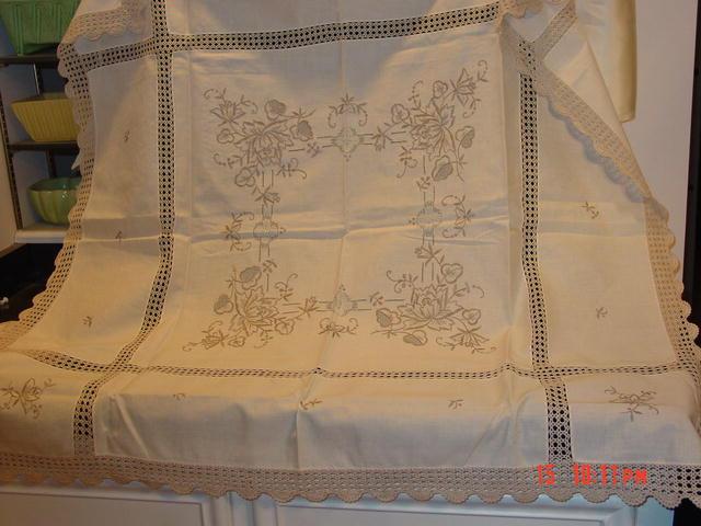 Swiss Handmade Pale Mocha Brode' Main Linen & Crochet Tea Tablecloth & 6 Napkins Set