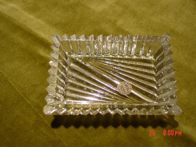 Box of 4 Czechoslovakian Cut Crystal Individual Ashtrays or Salt Dips