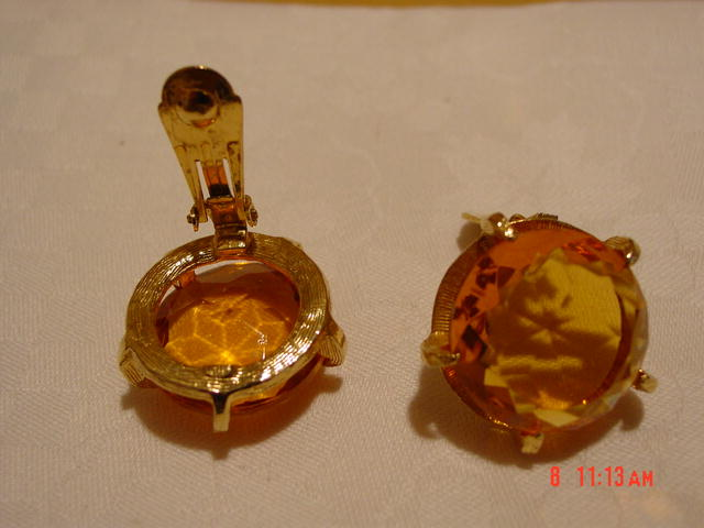 HUGE Clear Faceted Honey Gold Glass Clip Earrings