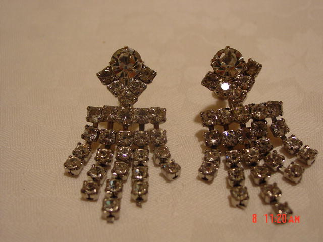Cascading Clear Rhinestine Screwback Earrings