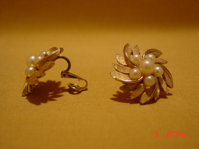 Gold Crown Trifari Clip Earrings with Imitation Pearl Beads