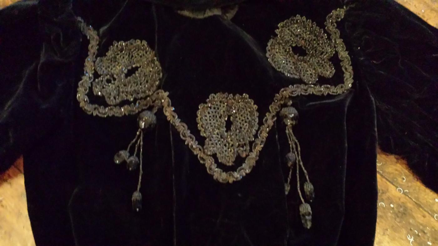 Antique Victorian Black Velvet Beaded Mourning Blouse Jacket