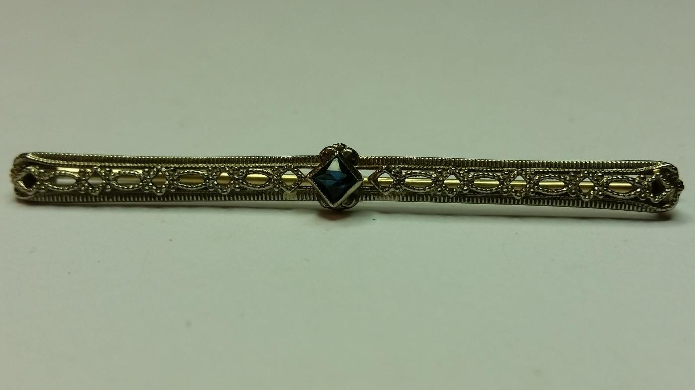 10k Gold and Sapphire Bar Pin