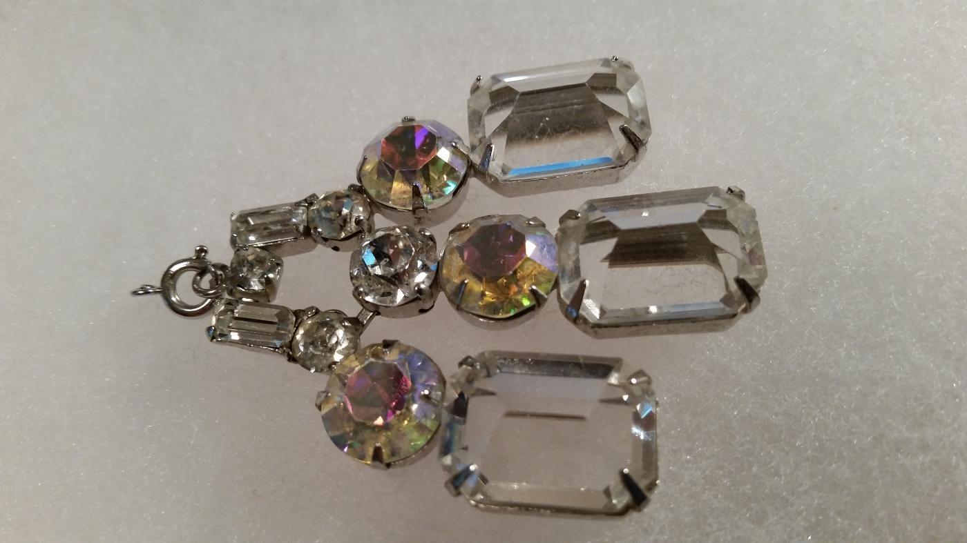 Large Clear Crystal and Aurora Borealis Pendant