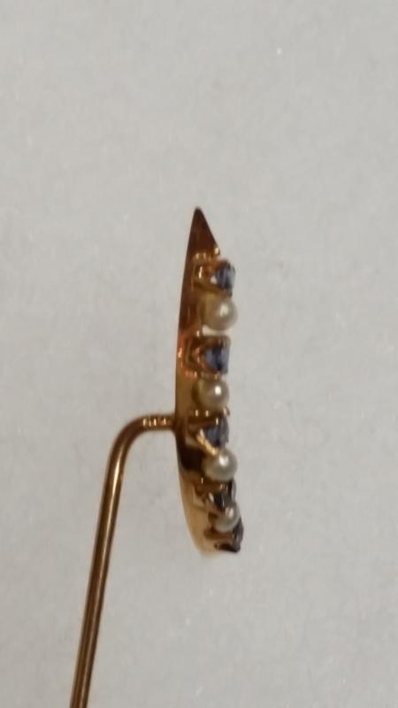14K  Crescent Moon Sapphire Seed Pearl Stick Pin
