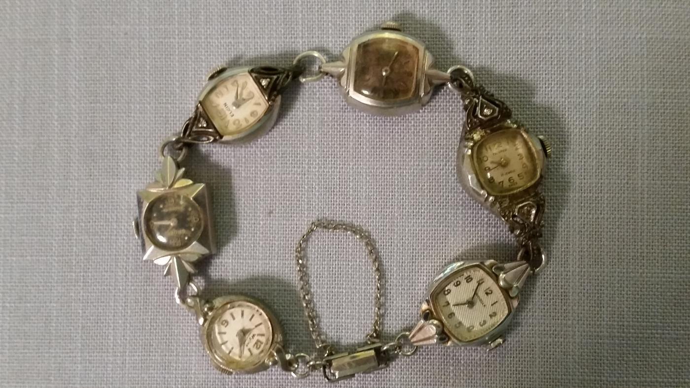 Bracelet of 6 Vintage Silvertone Ladies Watches
