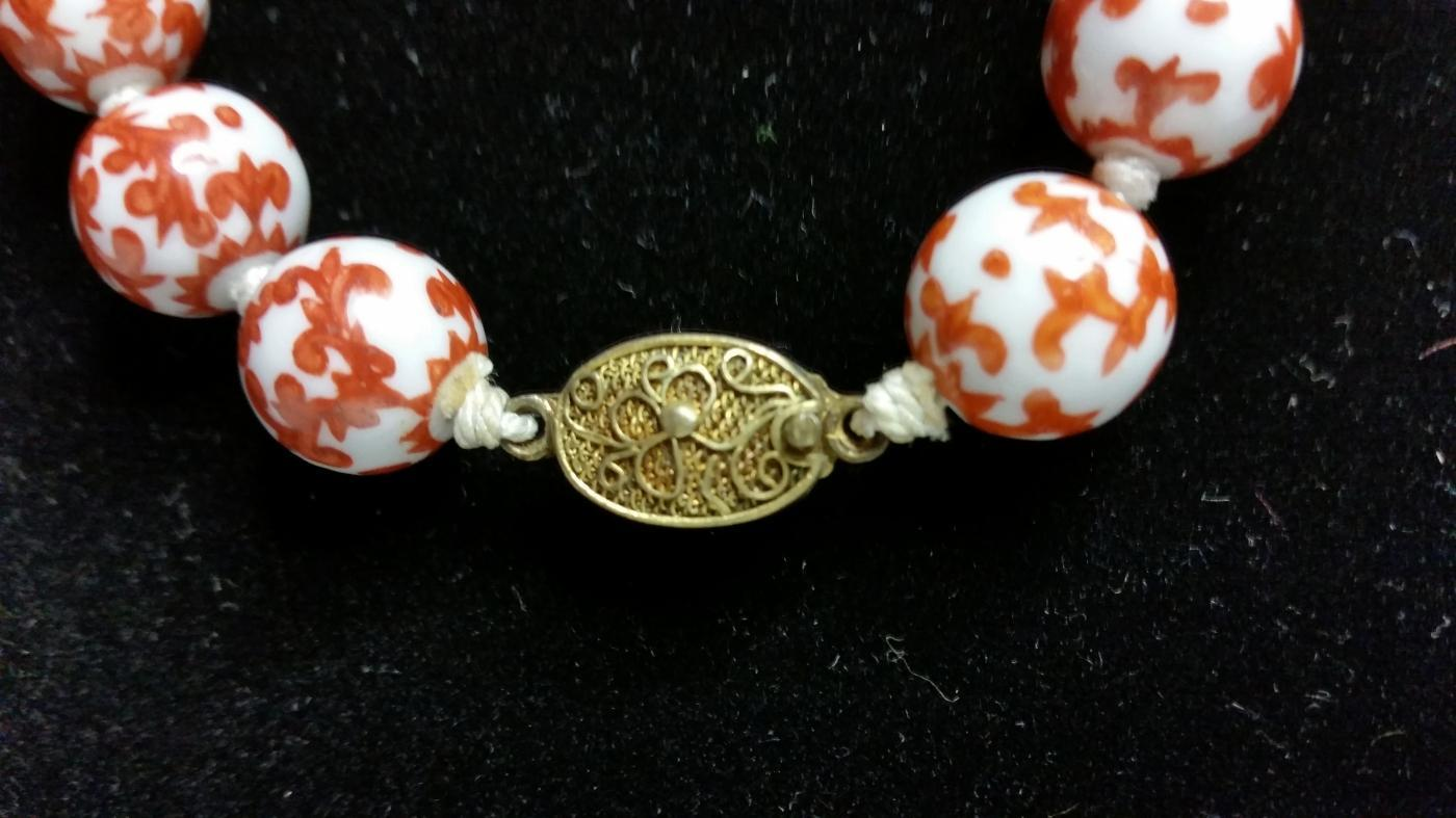 Hand Painted Porcelain Bead Necklace