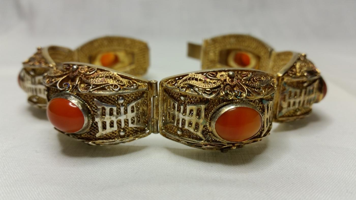Chinese Export Sterling Vermeil Filigree Carnelian Bracelet