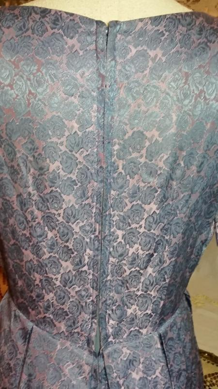 Vintage Printed Blue Silk Brocade Dress