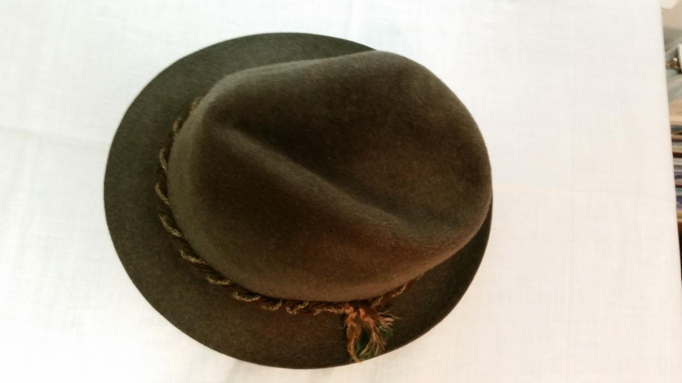 Men's Dark Green Wool Fedora Hat by Brodt's, Inc.