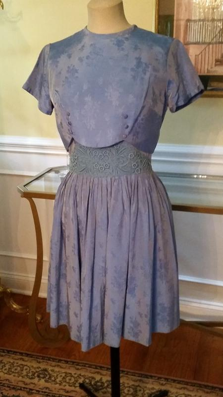 Vintage 40's Dust Blue Silk Brocade Dress & Cropped Overlay Blouse