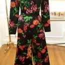 Vintage 70's Floral Rayon Lounge Pants Suit by The Kollection, Ltd Size 10