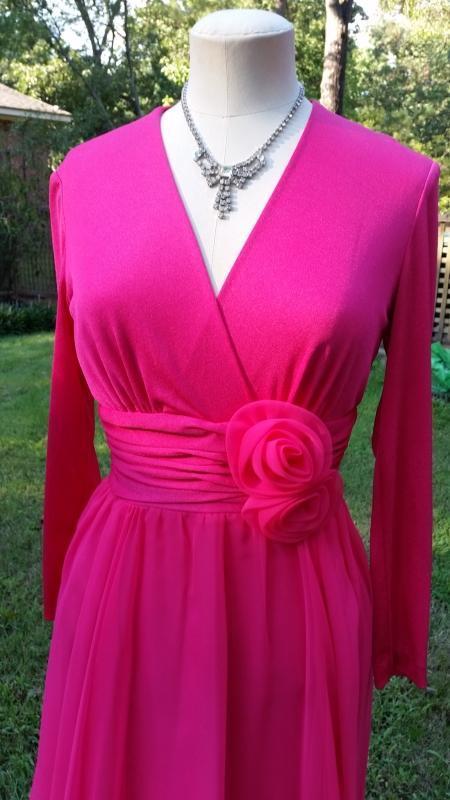 Vintage 70's Miss Elliette Hot Pink Gown