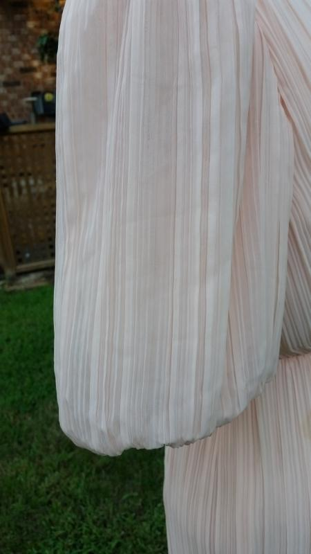 Vintage 70's Miss Elliette Pale Pink Crepe Chiffon Gown