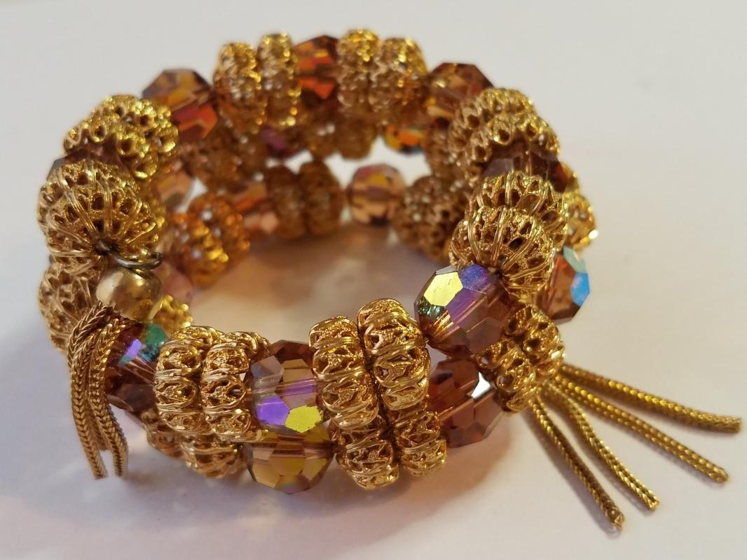 Vendome Amber AB Crystal and Gold Bead Necklace, Bracelet & Clip Earrings