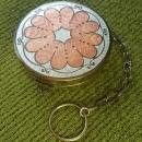 Antique Phi Delta Upsilon Round Guilloche Enamel Necessaire' Powder Dance Compact with Finger Ring