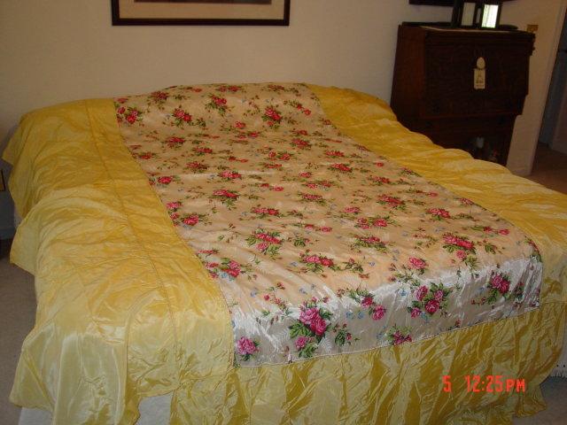Bonat Full Size Bedspread - Rayon Taffeta Satin Pink Roses on White with Yellow Dust Ruffle Skirt