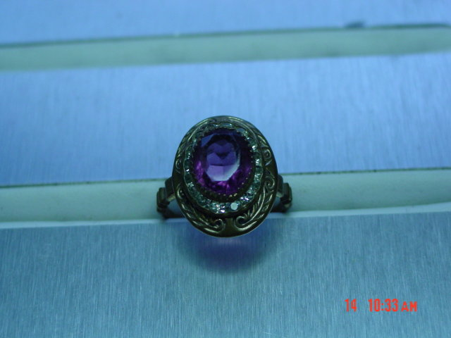 Vintage Detailed Brass Ring Amethyst Colored & Clear Rhinestones