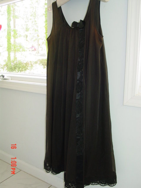 Vintage Size Small Dark Chocolate Brown Chiffon Baby Doll Nightgown by Shadowline