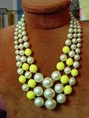 Vintage Japan 3 Strand Imitation Pearl & Yellow Bead Necklace