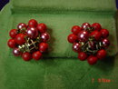 Four Strand Red Beaded Japan Necklace & Clip Earrings Set