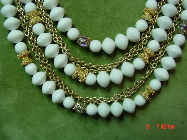 Marvella White Bead & Gold Chain 5 Strand Necklace