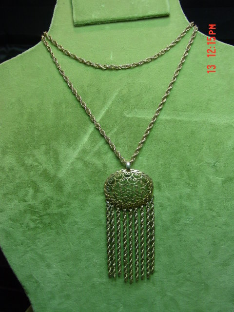 Vintage Gold Filled Filigree Pendant & Chain