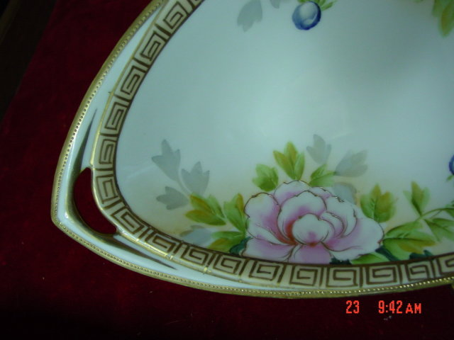 Hand Painted Floral Nippon Oval Celery Dish