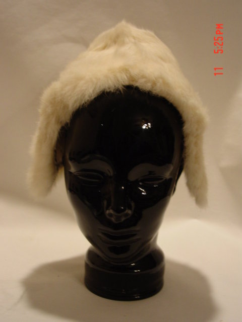 Child's White Fur Hat with Two Fur Tassles