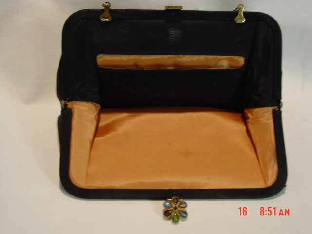 Black Silk Evening Bag Clutch Purse