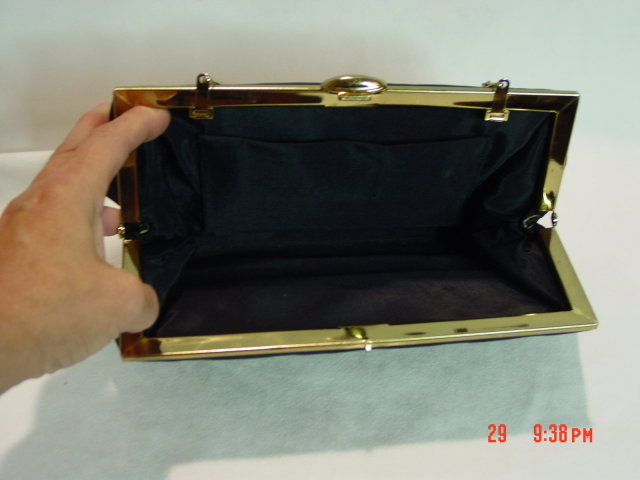 Vintage Black Rayon Evening Bag Clutch Purse