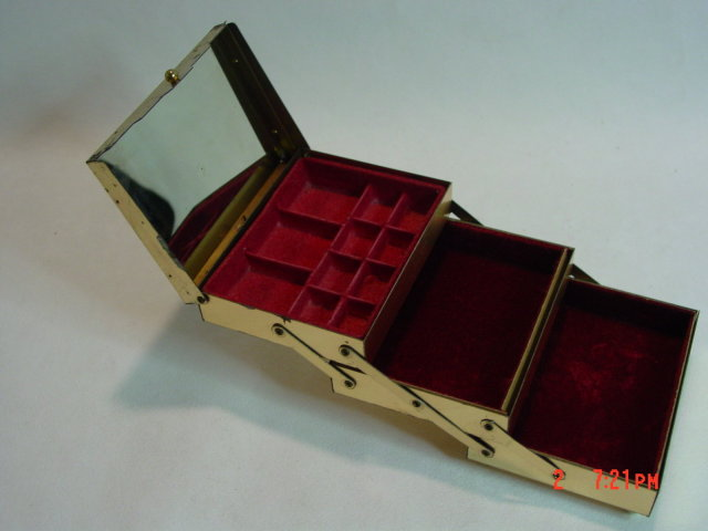 Vintage Gold Metal Accordian Stacking Jewelry Box
