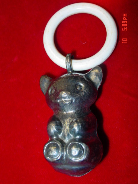 Denmark Silver on Brass Bear Rattle Celluloid Teething Ring