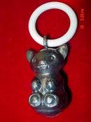 Denmark Silver on Brass Bear Rattle Celluloid Teething Ring