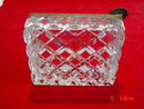 Rectangle Diamond Cut Crystal Ashtray with Brass Trim