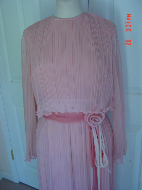 Old Rose Chiffon Evening Gown Dress by Miss Elliette
