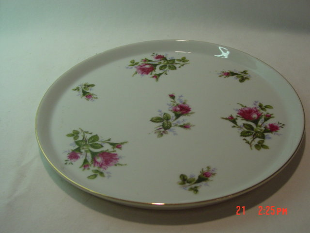 Lefton Moss Rose Round Dresser Tray or Cake Plate