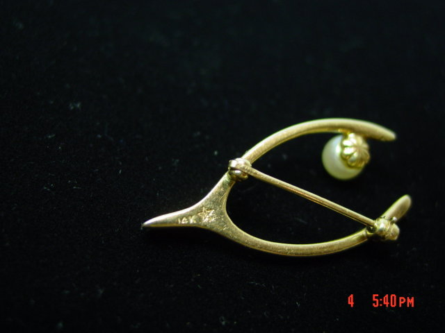 1920's 14K Gold Cultured Pearl Wishbone Pin Brooch