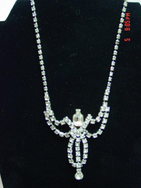 Clear Rhinestone Rhodium Necklace