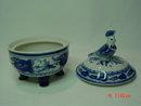 Cobalt Blue & White Porcelain Trinket Box Bird Topper Handmade in Russia