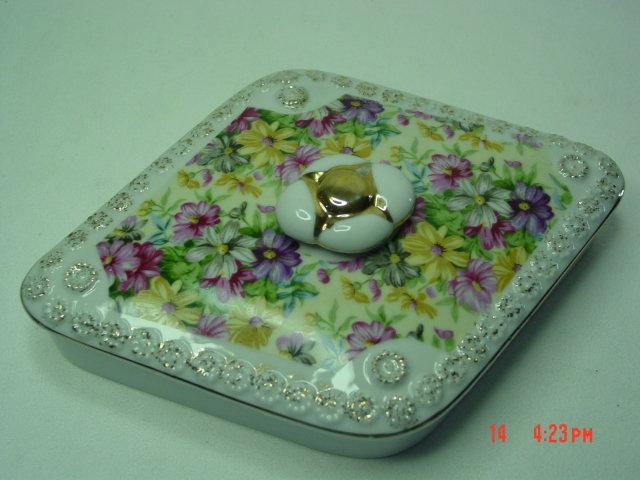 Diamond Shaped Hand Painted Tilso Porcelain Floral Trinket Dresser Box Jewelry Casket