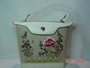 Vintage Large  White Vinyl Floral Decorated Handbag Purse