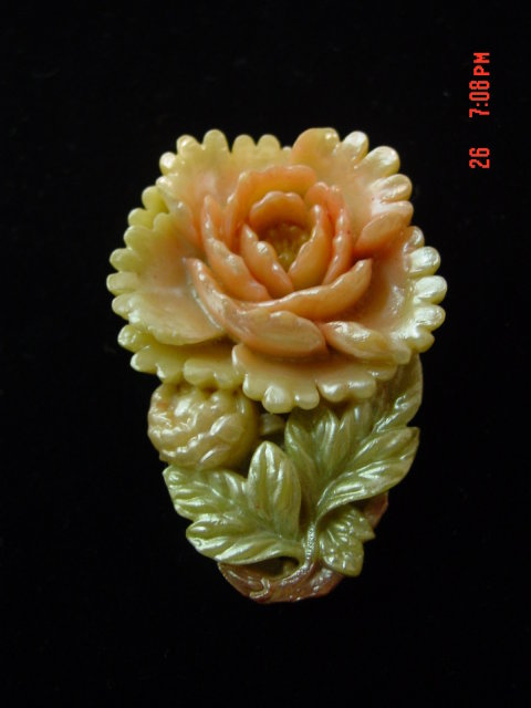 Antique Carved Painted Celluloid Dress Clip