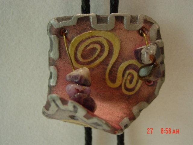 Vintage 80's Art Deco Pottery Lady's Bolo Tie & Pin