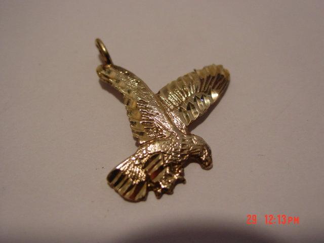 10K Gold Eagle Pendant Signed NF