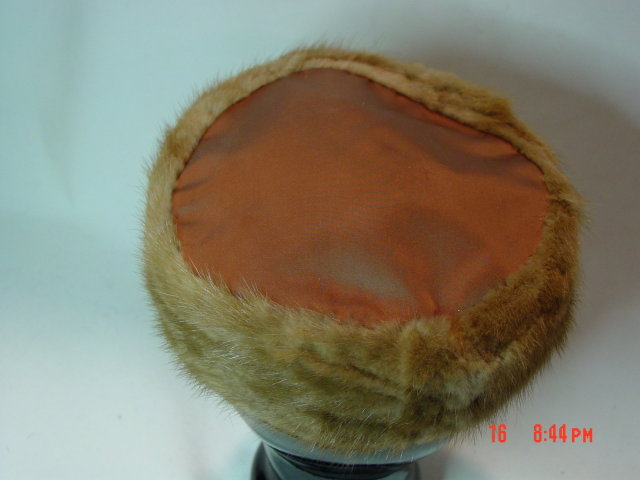 Vintage Brown Mink Fur Pillbox Hat by Noreen