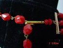 3-Strand Red Plastic Bead Necklace & Clip Earrings Germany